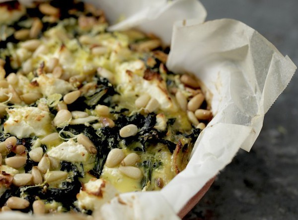 kale, spinach and feta pie