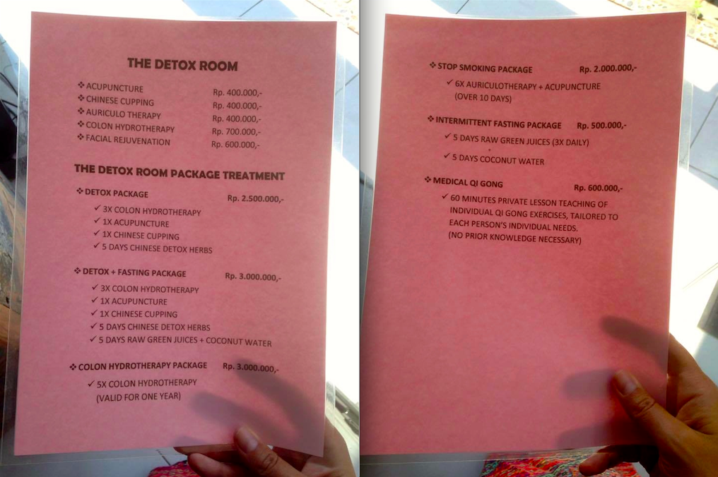 The Detox Room menu and pricing