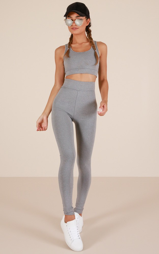 boho activewear tights grey marle